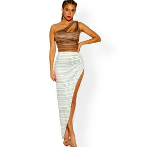 Camel White One Shoulder Striped Cropped Two Piece